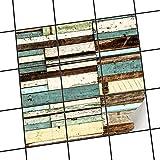 creatisto Dekofolie Fliesen aufkleben | Muster-Fliesenfolie Badezimmerfliesen Küchengestaltung | 15x15 cm Design Motiv Schiffsbruch - 9 Stück
