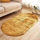 EDAHBJNEST5MK EDAHB® Ovaler Kunstfell-Teppich für Kinder, Plattenmatte aus weichem Schafsfell, Stuhlbezug, Heimdekoration, Akzent für Kinderzimmer, g, 50 x 80 cm