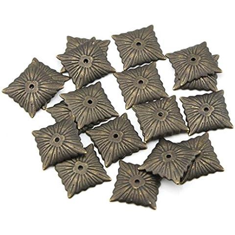 50pcs 21mmx21mm cuadrado Bolsos de bronce antiguo Pushpin doornail Thumbtack Chincheta Deco clavos para tapicería clavo de carga (