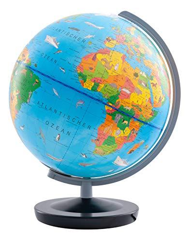Columbus Kinder-Leuchtglobus Terra D 260 mm mit Begleitheft Globus mit Licht und Einem Begleitbuch für Kinder, Weltkarte