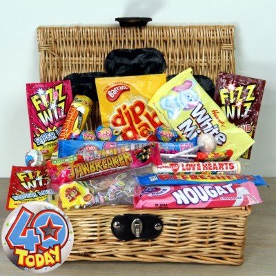 40th Birthday Retro Sweet Hamper Packed Full of Old School Candy with 40th Birthday Badge.