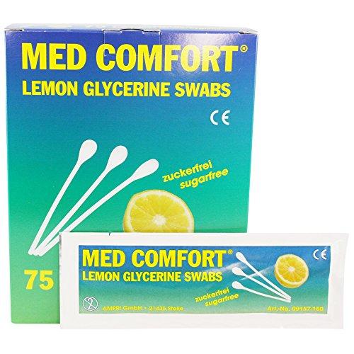 75 x MED COMFORT Wattestäbchen Lemon für Mundhygiene 10 oder 15 cm lang, Größen:15 cm