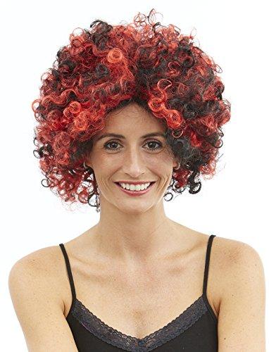 Pierro´s Kostüm Perücke Diavoletta Zubehör Kurzhaar Teufel Perücke rot-schwarz Damenperücke Kunsthaar für Karneval, Fasching, Halloween, Motto Party / Verkleidung Vampir ()