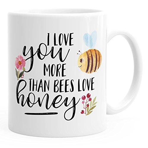 MoonWorks Kaffee-Tasse Geschenk-Tasse I Love You More Than Bees Love Honey Ich Liebe Dich Mehr als die Biene Den Honig Teetasse