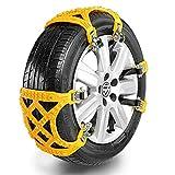 Schneeketten 9 STÜCKE Universal Schneeketten Leicht zu montieren Reifen Schneekette für jeden Reifen Breite 165-285mm, [2018 UPGRADE] (Gelb)