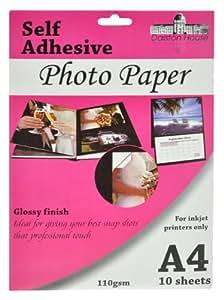 10 Sheets A4 Self Adhesive Photo Paper
