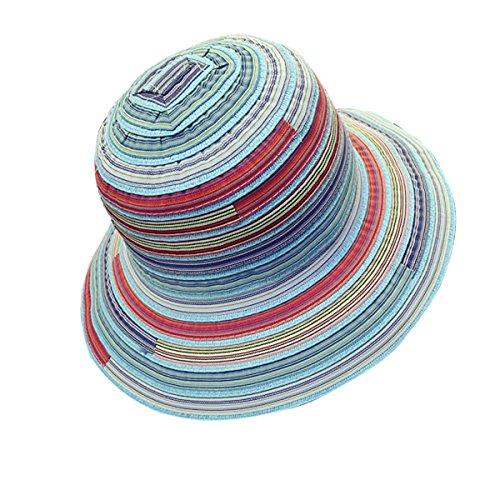 TININNA Femme Vintage Bonnet Chapeau Caractéristiques Ethniques Elegant Topper été Voyage Casual Capelines Bleu