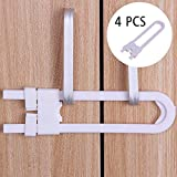 Ting-Times 4Pcs Sliding Cabinet Locks,U Shaped Baby Safety Cabinet Lock,Plastic Childproof Locks for Kitchen Bathroom Knobs and Handles(White) Sliding
