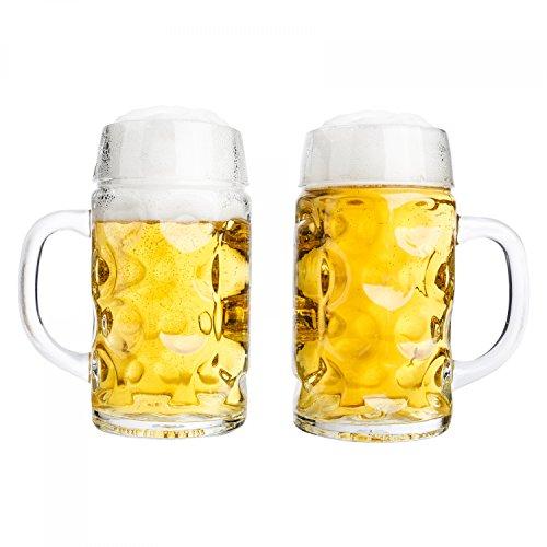 Van Well conjunto de 2 jarras de medio litro, graduado a 0,5L, jarras de cerveza con asa, apto para lavaplatos, se presta perfectamente para la gastronomía