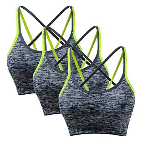 Gepolsterte Bh Thong Höschen (KIMODO Damen Abnehmbare gepolsterte Sport-BH Nahtlose Unterstützung BH Workout Yoga Bra Unterwäsche 3 Pack)