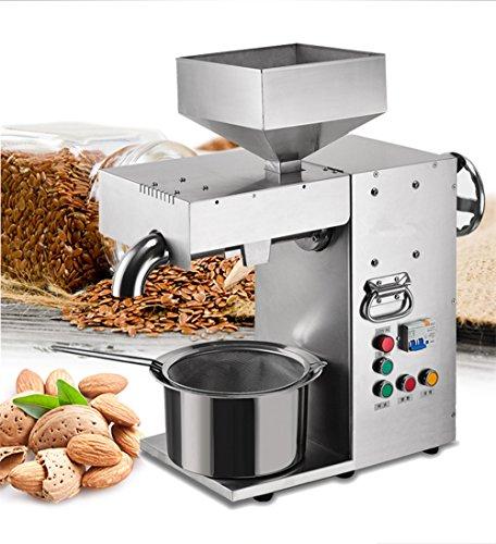 Prensa automática de aceite caliente y frío de acero inoxidable para casas, extractor de aceite para cacahuete de sésamo y otros (220 V)