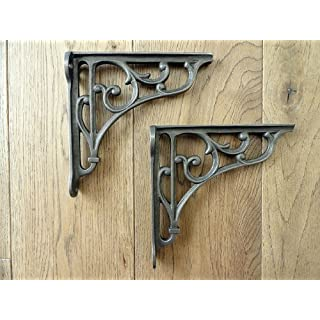 knobs and knockers A PAIR OF SMALL CLASSIC VICTORIAN SCROLL SHELF BRACKETS 5 INCH BRACKET CAST IRON