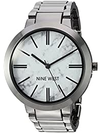 Nine West Women's NW/1985HLTE Marbleized Dial Gunmetal Bracelet Watch