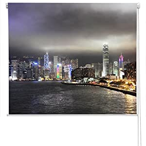 RB41 - Hong kong skyline at night city scene photo roller blind. All Art Fever® photo roller blinds come with a child safety device.