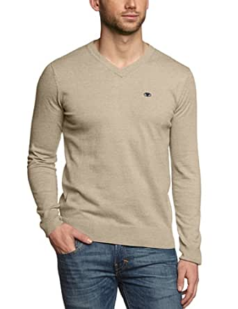 TOM TAILOR Herren Pullover colored melange v-neck/401, Gr. XX-Large, Beige (gravel beige melange)
