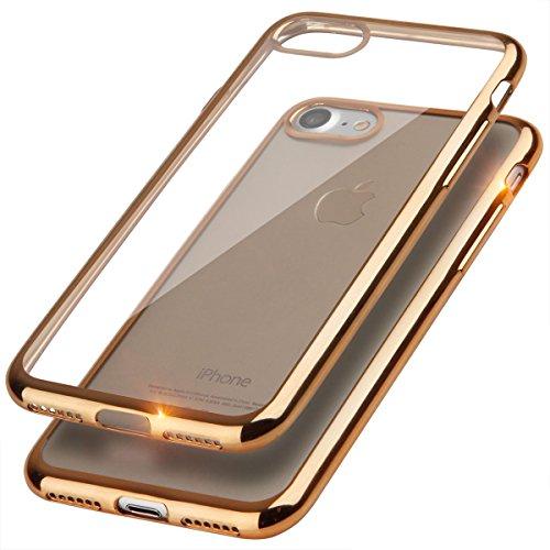 EGO® TPU Silikon Case für iPhone 7 Bling Schutz Hülle Silikon Tasche Schutzhülle Transparent Glänzend Schale Ultra Dünn SCHWARZ GOLD ohne GLASS