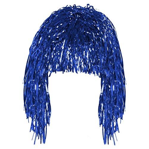 2667b6f7f66 Blue Tinsel Fun Wig Adult Fancy Dress Shiny Metallic Foil Tinsel Wig  Costume Accessory