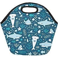 InterestPrint - Bolsa térmica de neopreno con patrón de tiburón bajo el agua, reutilizable, para el almuerzo, de 28 x 30 cm