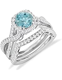 Silver Dew Jewellery 925 Pure Silver 14k White Gold Plated Diamond Ring Fashion Women's Ring, 2 Pcs Ring, Round...