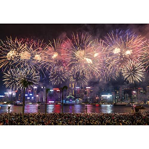 YongFoto 2,7x1,8m Fotografie Hintergrund Frohes neues Jahr Feuerwerk Über Hong Kong Victoria Park Hintergrund Feiern Sie neues Jahr 2020 Partei Porträt Winter Studio Foto - Victoria 12 Licht