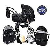 Baby Sportive - Sistema de viaje 3 en 1, silla de paseo, carrito con capazo y silla de coche, RUEDAS GIRATORIAS y accesorios, color negro, lunares