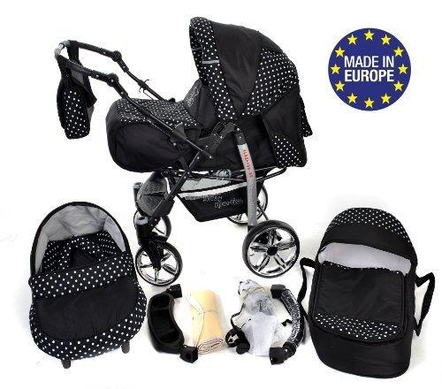 Sportive X2-3 in 1 Reisesystem einschließlich Kinderwagen mit schwenkbaren Rädern, Kinderautositz, Buggy und Zubehör (3 in 1 Reisesystem, Schwarz-weiße Punktmuster)