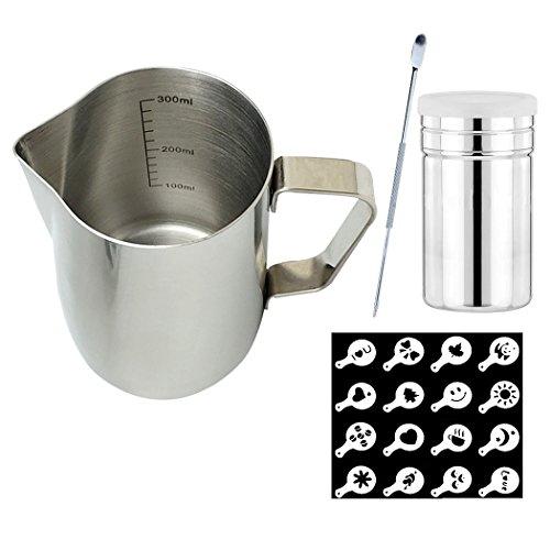 Espresso Dampfende Milch (SIPLIV Kaffee Kunst Tool Kit 12 oz (350 ml) Edelstahl Espresso dampfende Krüge Milch Aufschäumen Krug mit Messmarkierungen, Kaffee Kunst Stift, Kakaopulver Shaker, 16 Kaffee Schablonen)