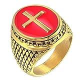 LANCHENEL Gezeiten Mannes Rotes Kreuz Titan Stahl Gold überzog Tropfgegossene Ringe,Größe 67 (21.3)