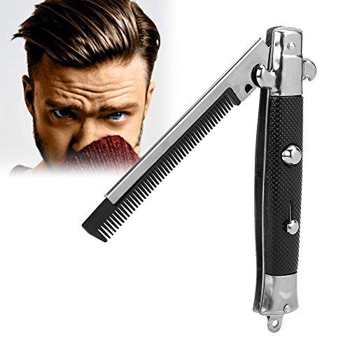 Faltbarer Taschenkamm, Switchblade Pocket Kamm, Druckknopf Automatische Edelstahl Haar Trimmer Kämme für Bart Schnurrbart, Männer Öl Haar Styling Zubehör