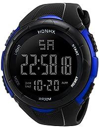 Deportes Cronómetro lujo hombres analógico Digital Militar ejército deporte LED resistente al agua reloj de pulsera de material resistente al agua, Blue 1, Sport