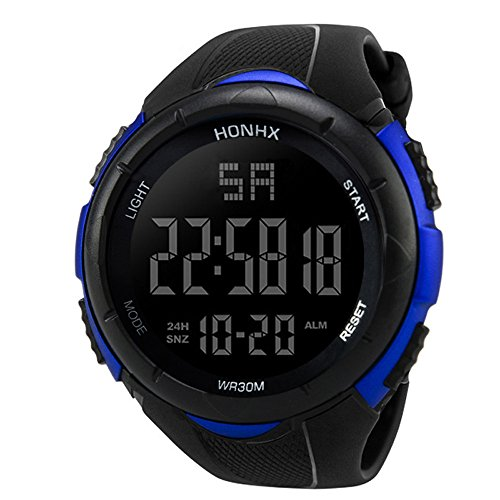 Deportes Cronómetro lujo hombres analógico Digital Militar ejército deporte LED resistente al agua reloj de pulsera de material resistente al agua., Blue 1, Sport