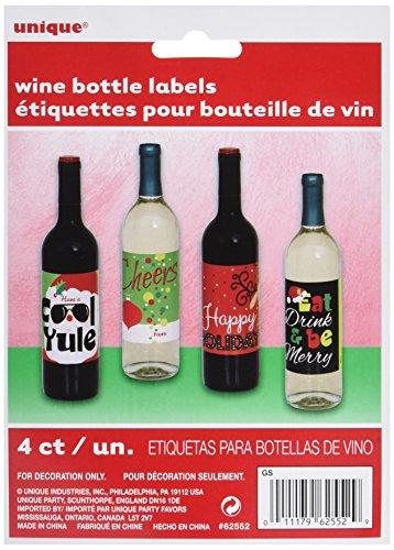 Unique Party Supplies Weihnachten Wein Flasche Etiketten, Sortiert 4Stück