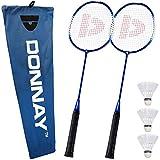 Donnay Badminton Set ✔ 2 Federballschläger ✔ 3 Badmintonbälle mit Korkfuß ✔ inkl. Transporttasche