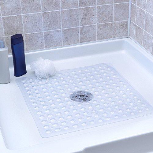 Alfombra antideslizante de vinilo Alfombra antibacteriana para ducha, cuadrada, 54 * 54M, poderosa ventosa de agarre, sin BPA, sin tóxicos, sin ftalatos, sin látex (transparente)