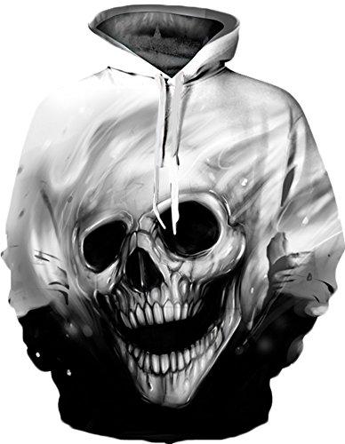 aldruck Galaxy Bunt Sweatshirt Langarm Kapuzenjacke Tier Muster Frühling Jumper Fashion Pullover (S/M, Skelett) ()