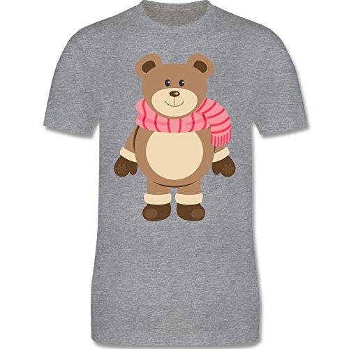 Weihnachten & Silvester - Winter Teddy mit Schal - Herren Premium T-Shirt  Grau Meliert
