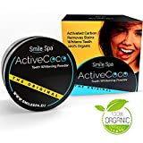 immagine prodotto ActiveCoco Activated Charcoal Teeth Whitening Powder | 30 Grams 100% Coconut Charcoal | Active Coco Teeth Whitening Booster | Sbiancamento denti con carbone attivo | dentifricio con carbone attivo | More Effective Than Strips, Gels & Most Tooth Whitening Kits