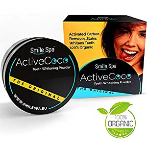 ActiveCoco Activated Charcoal Teeth Whitening Powder | 30 Grams 100% Coconut Charcoal | Active Coco Teeth Whitening Booster | Sbiancamento denti con carbone attivo | dentifricio con carbone attivo | More Effective Than Strips, Gels & Most Tooth Whitening Kits