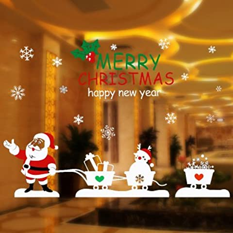 Decorazioni di Natale Natale negozio decorazioni per finestre parete adesivi sticker adesivi di Natale finestra decorazioni elettrostatica vetro decorazioni di Natale,Anziani carrello adesivo