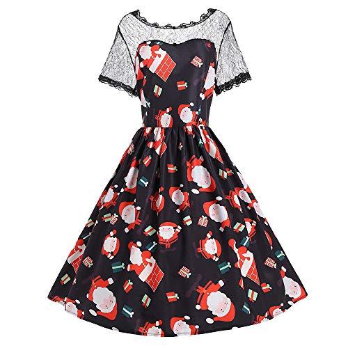 TUDUZ Damen Weihnachten Kleid Vintage Santa Weihnachten Abendkleid Xmas Festlich Prom Swing Kleid
