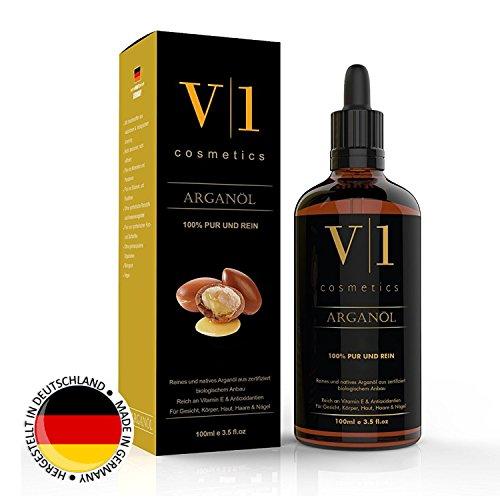 V|1 cosmetics Huile d'argan pressée à froid 100ml • huile 100% naturelle et pure pour le visage, la peau, les cheveux et les ongles • Fabriquée en Allemagne