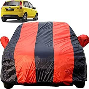 Autofact Car Body Cover for Ford Figo Old Model (2008 to 2014) (Mirror Pocket Fabric, Triple Stiched, Fully Elastic, Red/Blue Color)