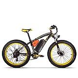 RICH BIT-SBX RT-022 ebike Ogni Tipo di Terreno Spiaggia incrociatore Potenza assistita Fat Tire Bicicletta La Neve Bicicletta Montagna Acceleratore valvola a Farfalla (Black Yellow)