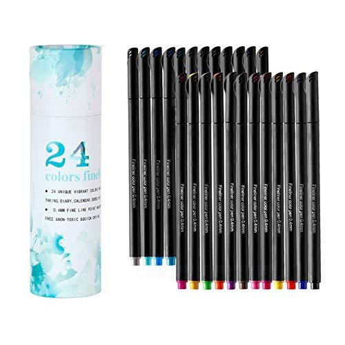 ZUEN 24 Farbe Sehr feine Farbe Wasser-basierte Hookline Painting Set Needle Pen (Wasser-basierte Farben)