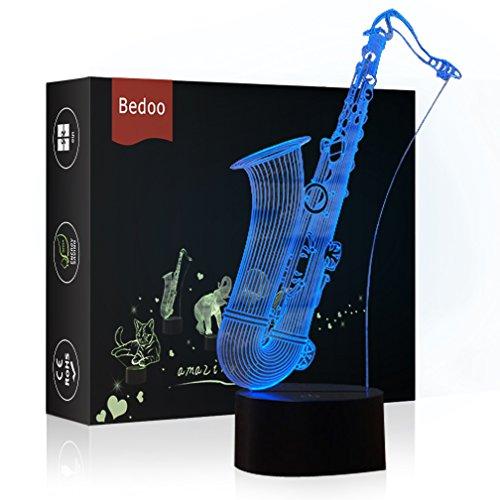 HeXie Weihnachtsgeschenk Magie Saxophon Lampe 3D Illusion 7 Farben Touch-schalter USB Einsatz LED-Licht Geburtstagsgeschenk und Party Dekoration