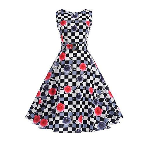 VEMOW Elegante Damen Vintage Bodycon Sleeveless Halter beiläufige Tägliche Abend Party Prom Bow Brautjungfern Swing Dress Faltenrock A-Linie Rock(X6-Rot, EU-44/CN-XL)