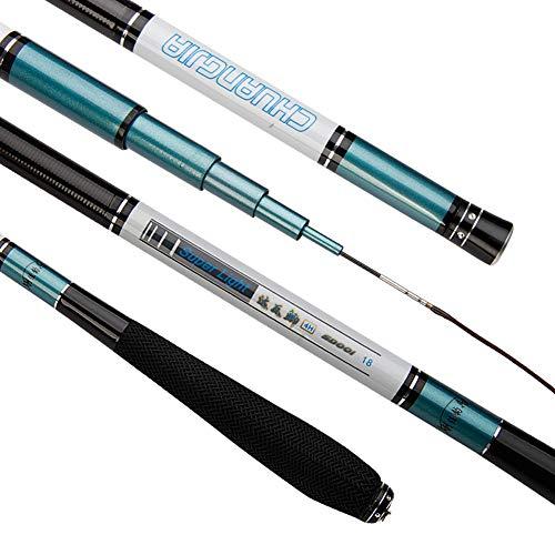 MJLXY Teleskop-Carbon-Angelrute 2.7-5.4m Harte Pole Tragbare Karpfen-Süßwasser-Stange Ultraleicht Spinnrute Fishing Rod,4.5