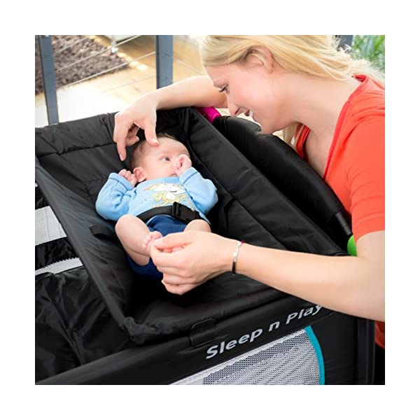 Hauck Sleep N Play Centre, 7-part Folding Travel Cot from Birth to 15 kg, Bassinet and Changing Top, Folding Mattress and Wheels, Side Opening, 120 x 60 cm, Multicolour Black Hauck Complete set - with bassinet, changing top, equipment bag, folding mattress, and transport bag, you will be fully equipped for all your travels with baby From birth - thanks to the new-born bassinet suitable to 9 kg, your baby sleep on a higher level with easy access; later, the bassinet is removed and the cot can be used up to 15 kg Mobility - with few actions only, this cot can be assembled and folded away compactly, making it very convenient for your next trip; thanks to wheels, you can also move it around in your house 3