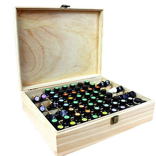CHSEEA Ätherisches Öl Display Ständer Gestell Halter Organisator, 68 Löcher Holz Box Veranstalter Aufbewahrung Koffer Box für Nagellack, Duftöle, Ätherisches Öl, Stain und Lippenstift #3 - Holz-flaschen-anzeige