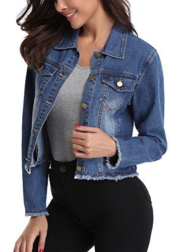 Miss Moly Damen Jeans Jacke Denim Jacke Boyfriend Stil Beiläufig Outwear Dunkel Blau - S